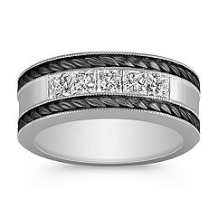 Princess Cut Diamond Men's Ring with Black Rhodium