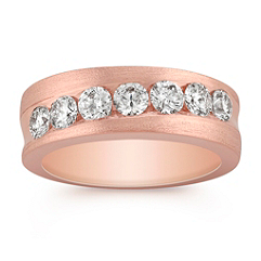 Diamond Rose Gold Wedding Band with Satin Finish for Her