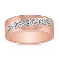 Diamond Rose Gold Wedding Band with Satin Finish for Him