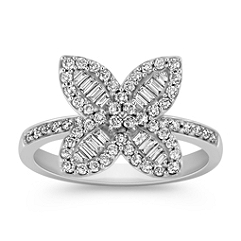 Baguette and Round Diamond Floral Ring