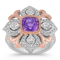 Cusion Cut Lavender Sapphire, Calla Cut and Round Diamond Ring in Two-Tone Gold