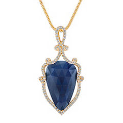 Pear Shaped Cabochon Sapphire Slice and Round Diamond Pendant (18 in.)