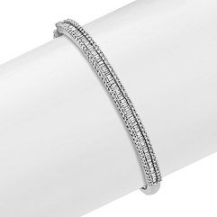 Baguette and Round Diamond Bangle Bracelet (7 in.)