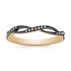 Round Diamond Ring with Black Rhodium