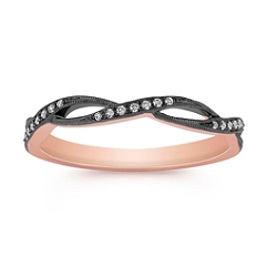 Diamond Ring with Black Rhodium in Rose Gold