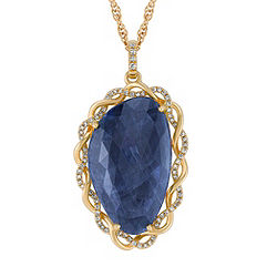 Freeform Sapphire and Diamond Pendant (18)