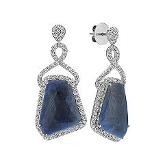 Freeform Sapphire and Diamond Earrings