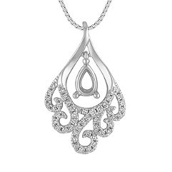 Round Diamond Swirl Pendant (18 in.)