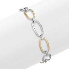 Sterling Silver and Yellow Sterling Silver Link Bracelet (7.5)