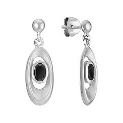 Oval Sterling Silver and Black Agate Earrings