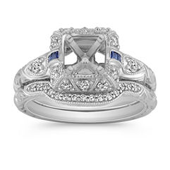 Vintage Halo Princess Cut Sapphire and Round Diamond Wedding Set