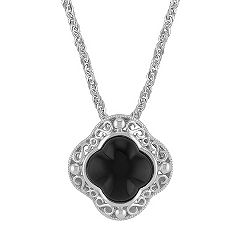 Black Agate and Sterling Silver Clover Pendant (20 in.)