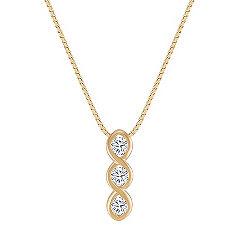 Three-Stone Diamond Pendant with Bezel Setting (18)