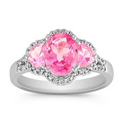 Oval and Half Moon Pink Sapphire and Round Diamond Ring