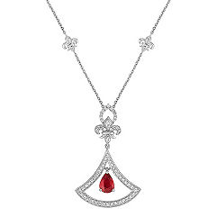 Pear Shaped Ruby and Round Diamond Necklace (18 in.)