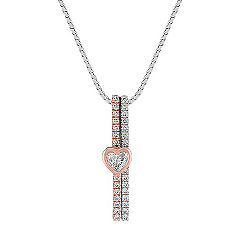 Heart-Shaped and Round Diamond Pendant in Two-Tone Gold (18 in.)