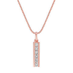Diamond Drop Pendant in Rose Gold (18 in.)