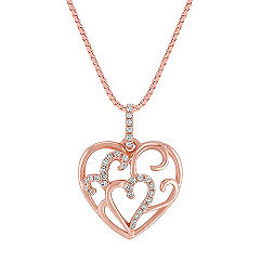 Diamond Heart Pendant in 14k Rose Gold (18 in.)