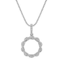 Diamond Circle Pendant with Pavé Setting