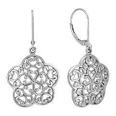 Vintage Flower Earrings in Sterling Silver