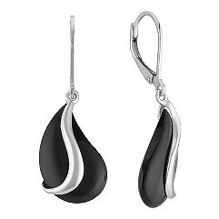 Black Agate and Sterling SIlver Leverback Earrings