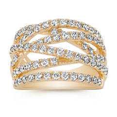 Criss-Cross Diamond Ring with Pavé Setting