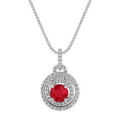 Ruby and Diamond Spiral Circle Pendant (18 in.)