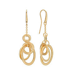 14k Yellow Gold Multi-Circle Dangle Earrings