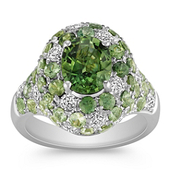 Oval and Round Green Sapphire and Diamond Ring