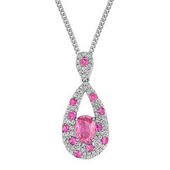 Oval and Round Pink Sapphire and Diamond Pendant (18 in.)