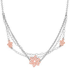 Sterling Silver Flower Necklace (20 in.)