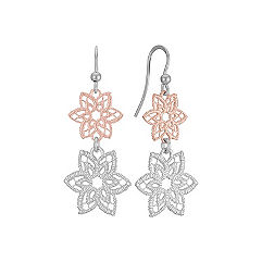 Floral Sterling Silver & Rose Sterling Silver Dangle Earrings