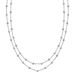 Sterling Silver Beaded Necklace (58 in.)