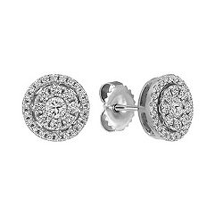 Diamond Cluster Circle Earrings