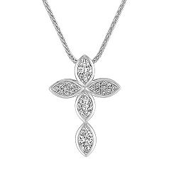 Marquise and Round Diamond Cross Pendant (18)