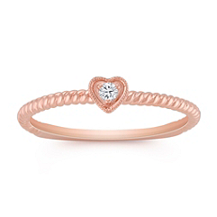 Stackable Diamond Heart Ring in Rose Gold