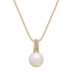 8mm Akoya Pearl and Diamond Pendant (18 in.)