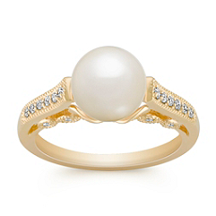 8mm Cultured Akoya Pearl and Round Diamond Ring