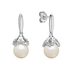 8.5mm Cultured Freshwater Pearl and Sterling Silver Earrings