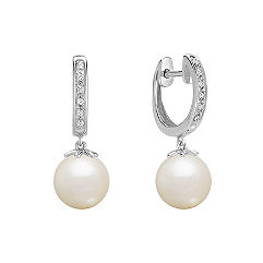 8.5mm Cultured Freshwater Pearl and Diamond Hoop Earrings