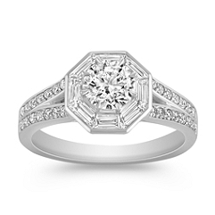 Baguette and Round Diamond Fashion Ring