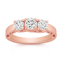Vintage Three-Stone Diamond Ring in Rose Gold