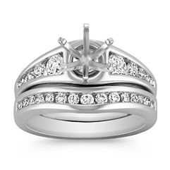 Classic Round Diamond Wedding Set with Channel Setting