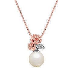 Rose 8mm Cultured Freshwater Pearl and Diamond Pendant in Rose Gold and Sterling Silver (18)
