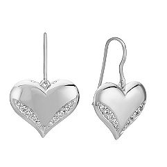 Engravable Diamond Heart Earrings in Sterling Silver