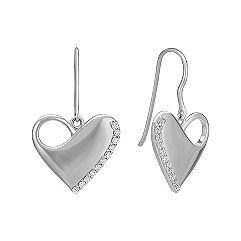 Engravable Diamond Heart Dangle Earrings