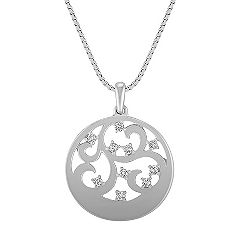 Round Diamond and Sterling Silver Circle Pendant (18 in.)