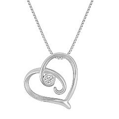 Diamond Sterling Silver Heart Pendant with Bezel Setting (18 in.)