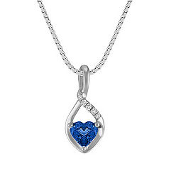 Heart-Shaped Sapphire Pendant in Sterling Silver (18 in.)