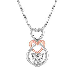 Heart-Shaped White Sapphire Heart Pendant in Sterling Silver and 14k Rose Gold (18)